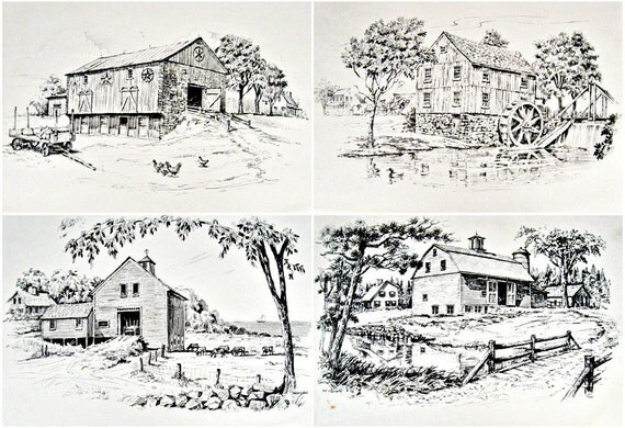 vintage country barn prints - set of 4