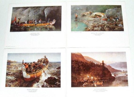 Vintage Les Voyageurs Print Set Frances Anne Hopkins Set