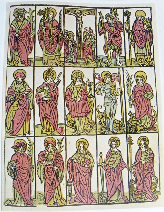 vintage print - Crucifixion and Fourteen Auxiliary Saints - 15th Century - 8 x 10