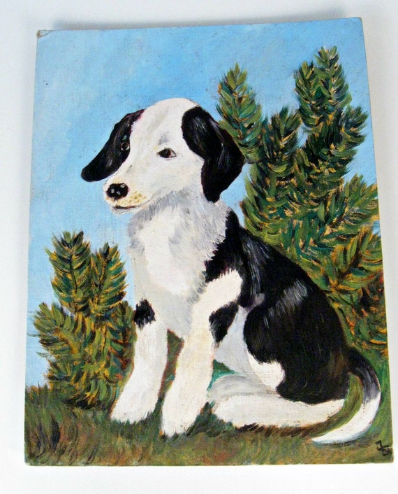 vintage painting - black and white puppy - acrylic panel - 14 x 18 - 1970s