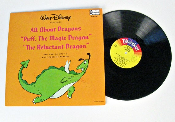 vintage Walt Disney All About Dragons Record - 1966