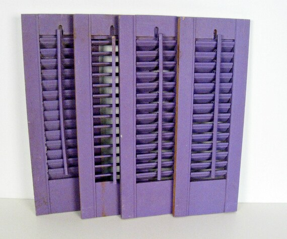vintage wooden hurricane shutter panels - lilac - cottage style - 7 x 20 - set of 4