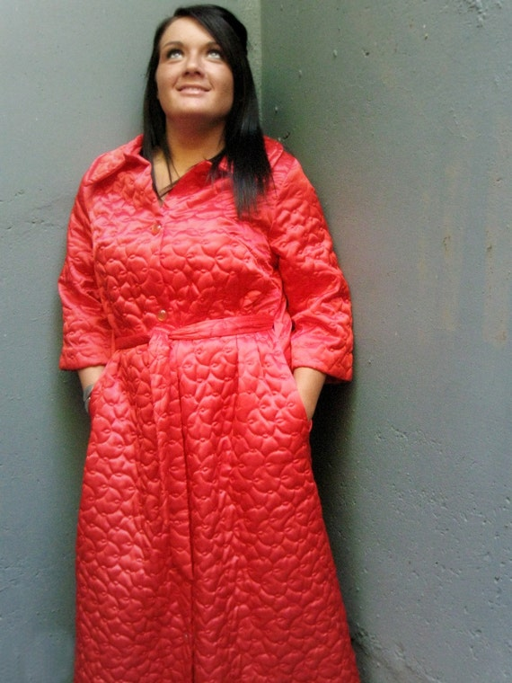 Vintage 60s Coral Satin Women S Robe Long Quilted Small Or