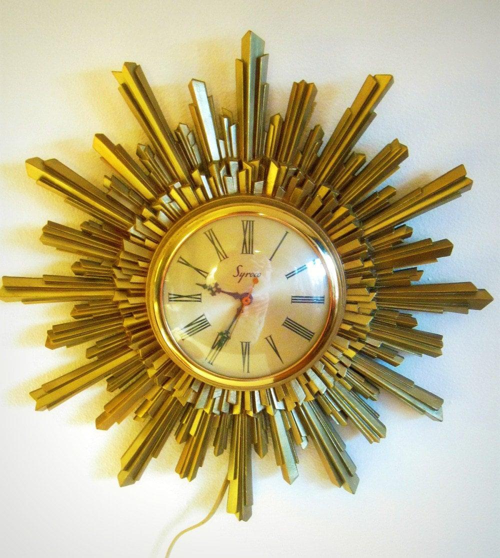 Sale Vintage Clock Starburst Gold Syroco Reserved For