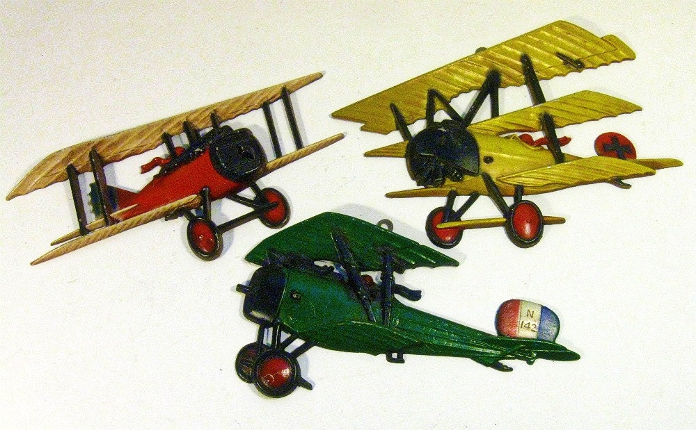 Vintage Aviation Wall Decor : Vintage wall decor airplane cast metal homco set of