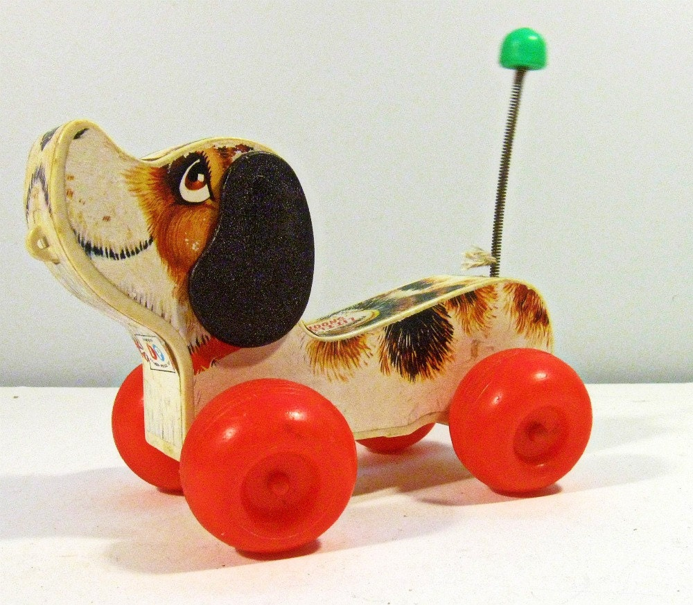 Classic Fisher Price Toys : Vintage toy dog little snoopy wood pull fisher price