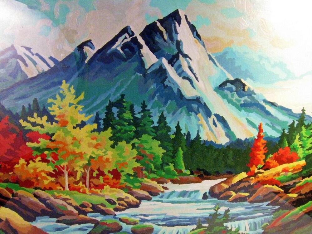 Vintage Painting Paint By Number Landscape Autumn 18 X