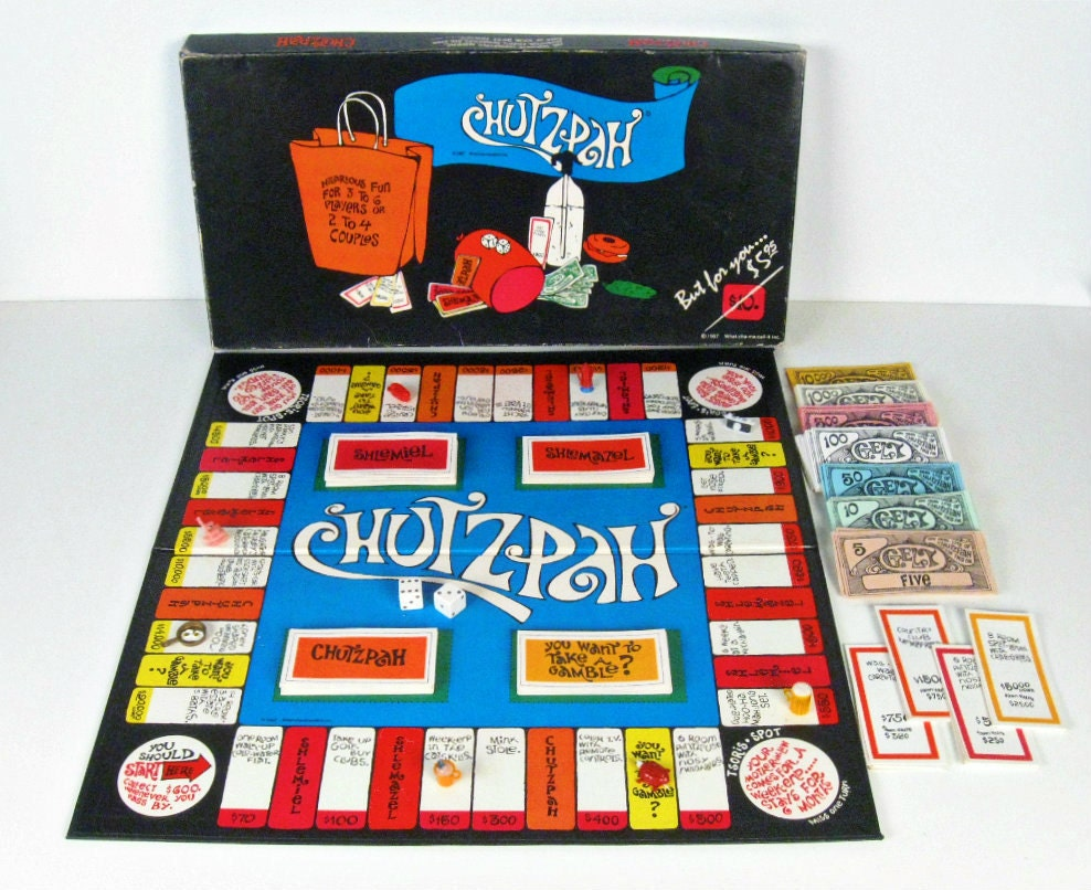 Board Games In Hebrew : Vintage chutzpah board game jewish monopoly