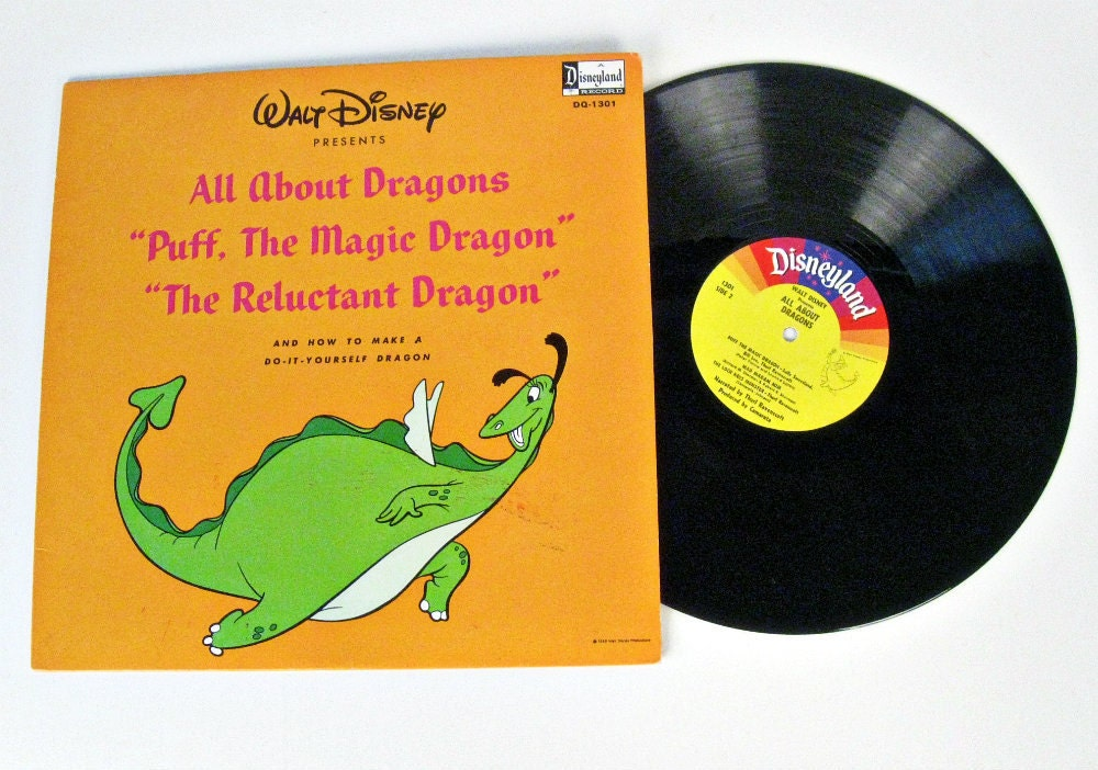 Vintage Walt Disney All About Dragons Record 1966
