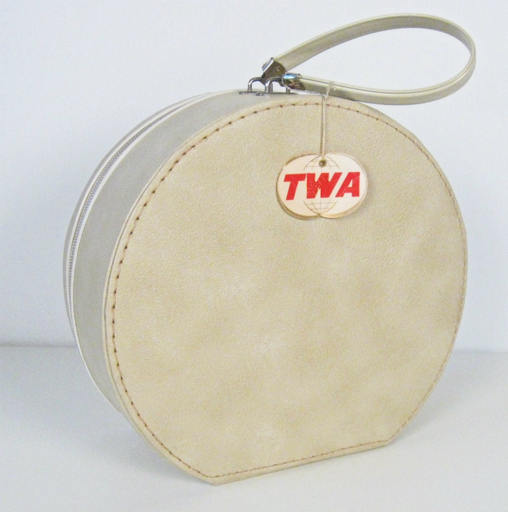 Vintage Luggage Round Beige Carry On Bag With Twa Tag