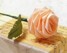 Origami Roses in Peach Pink - 10 Single Roses Qty, Peach Pink Roses, Ribbon Roses