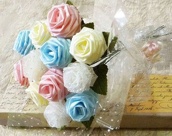 Origami Pastel Colored Rose Bouquet - Melody Style (1 Dozen Gift Wrapped) Anniversay Gift, Valentines day gift, Party favors