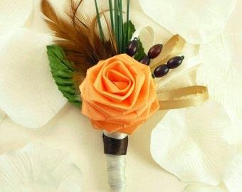 Fall Harvest, Origami Rose Boutonniere, Grooms Boutonniere, Autumn Boutonniere, Origami Wedding, Rustic wedding, Barnyard wedding