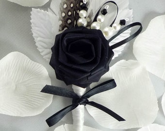Lux Chic Origami Boutonniere, Wedding Boutonniere, Black and White Boutonniere