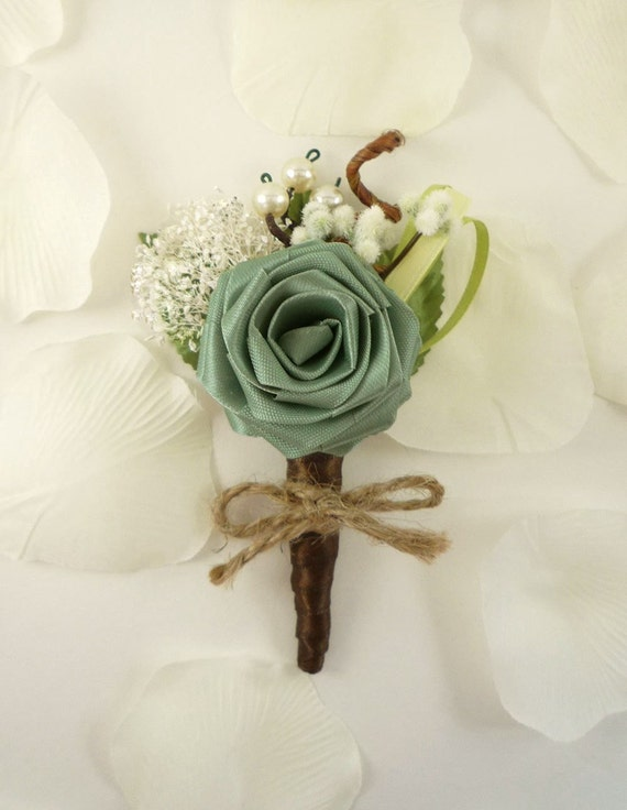 Origami Rose Boutonniere - Ecology Style, Groom Boutonniere, Rustic Boutonniere, Woodland Wedding Boutonniere