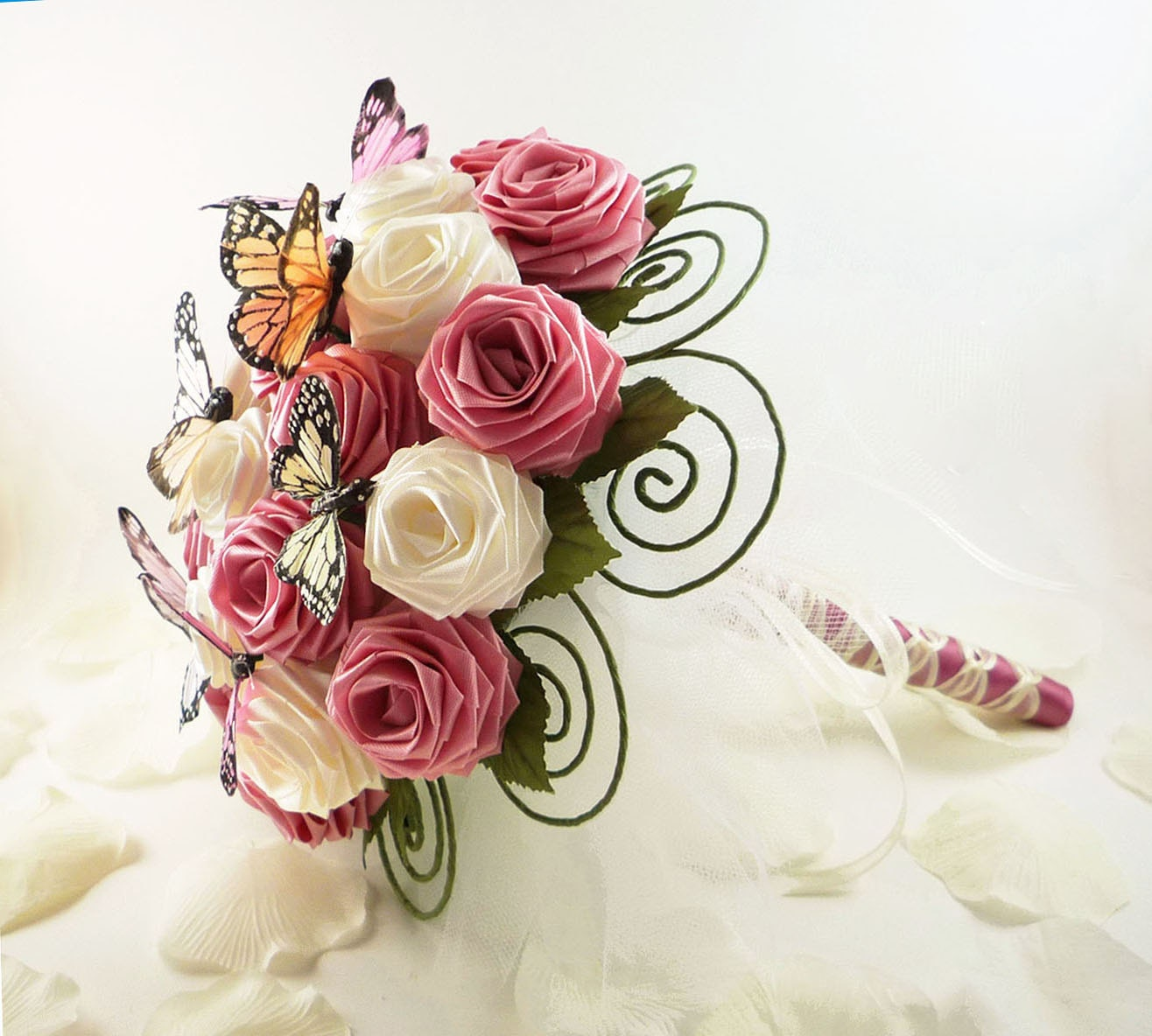 Origami Wedding Flowers: Garden Party Wedding Bouquet Bridal Bouquet Butterfly
