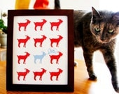 Goat art print, red and blue goat pattern print, this too shall pass message, 8x10 Print