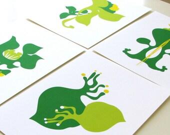 "Green Art Print 4 set  - abstract vegetable illustration, 5x7"", wall decor"