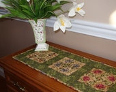 Floral Table Runner with Dark Green