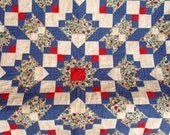 Red Blue Patchwork Quilt