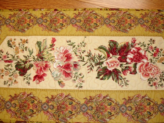 Gold Floral Table Runner