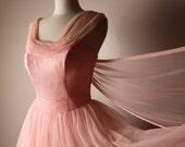 Vintage 1950's Emma Domb Pink Nylon Chiffon Prom Formal Dress