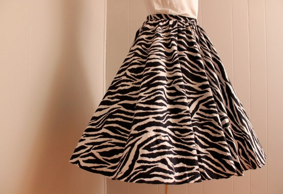Reserved for Lululavra Vintage 1980's 1950's Style Zebra Print Circle Skirt