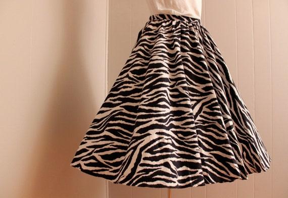 Reserved for Lululavra Vintage 1980's 1950's Style Zebra Print Circle Skirt