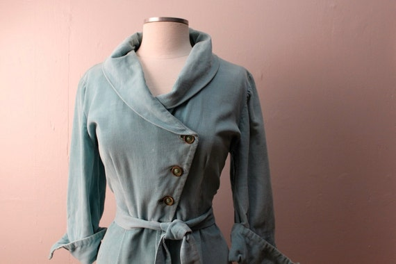 RESERVED  Vintage 1950's Turquoise Corduroy Dressing Gown Dress Robe Dolly Myers