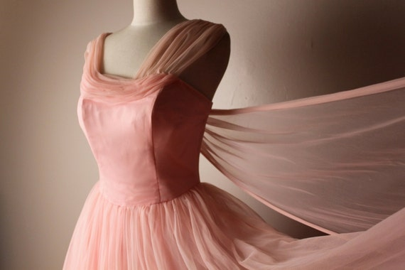 Vintage 1950's Emma Domb Pink Nylon Chiffon Prom Formal Dress