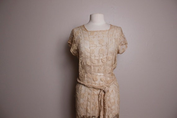 Vintage 1920's Cream Tea Stained Lace Dress Medium Large