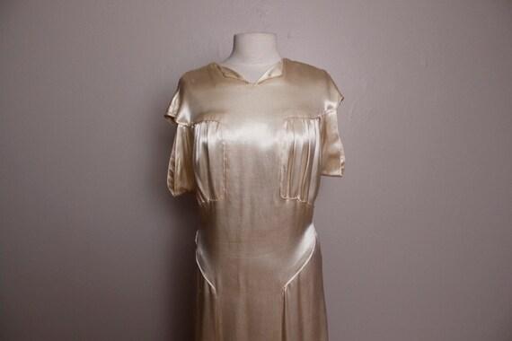 Vintage 1930's Cream Satin Wedding Dress Gown Large L XL