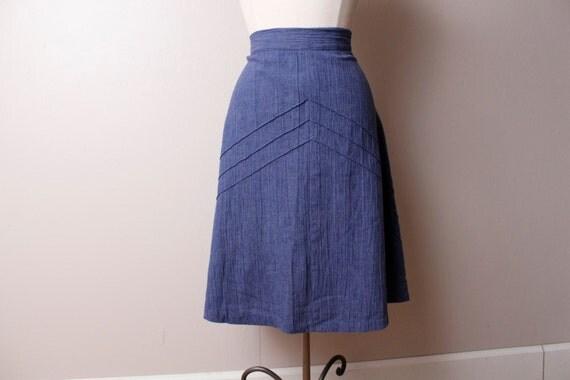 Vintage 1970's Cotton Blue Jean Denim A line Skirt Large
