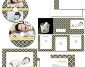 layered psd files - dvd case,label, thank you, business cards,stickers, birth announcement - MOD MOROCCO marketing set.