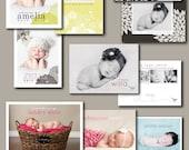 photographer templates photoshop birth announcement  - babys breath.