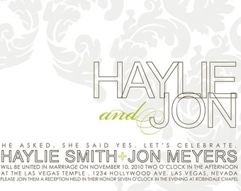 custom wedding invitation, rehearsal dinner, shower, wedding stationery - hollow.