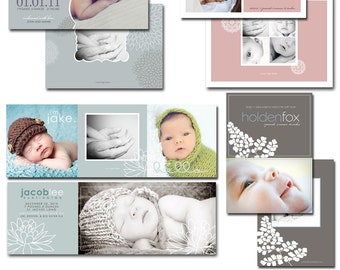 photographer templates - birth announcement photoshop files - pretty blooms.
