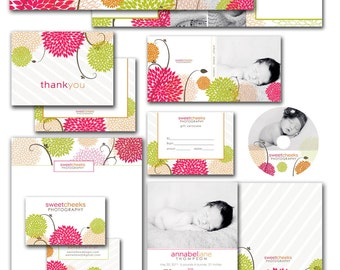 photoshop marketing bundle for photographers - dvd cases, cd label, letterhead, business card, welcome trifold, thank you - sweet cheeks.