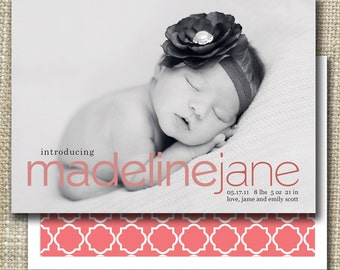 custom photo birth announcement - classic meets modern.