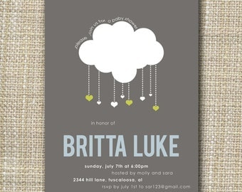Baby Shower Invitations - Cloud Baby Shower Invitations -Raining Baby Shower Invitations - Baby Shower invitation - Raining hearts