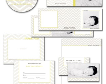 photoshop marketing bundle for photographers - dvd cases, cd label, letterhead, business card, welcome trifold, thank you - mod chevron..