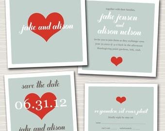 wedding invitation suite design - lots of love.