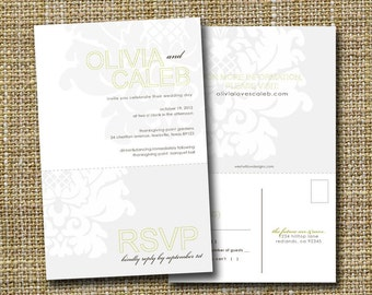 modern wedding invitation with perforated rsvp postcard - hollow.