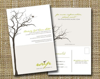 modern wedding invitation with perforated rsvp postcard - love birds.