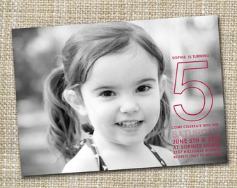 custom photo childrens birthday invitation - party time.