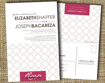 custom perforated wedding invitations with tear off rsvp postcard - urban.