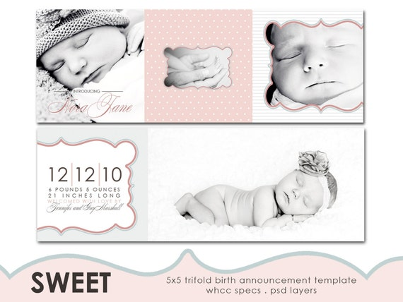 sweet 5x5 tri-fold birth announcement template for photographers.