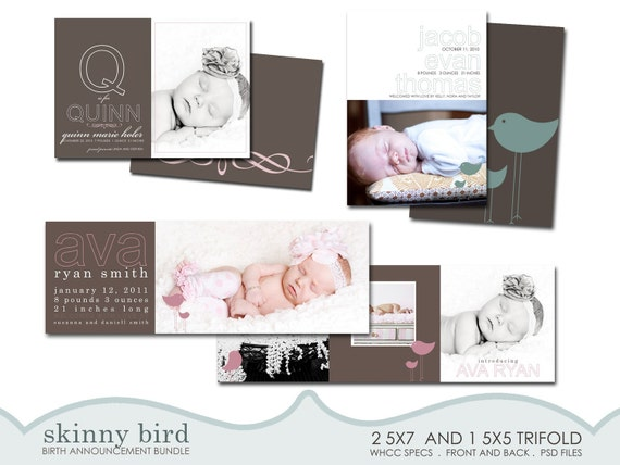 custom birth announcement templates for photographers - skinny birds.