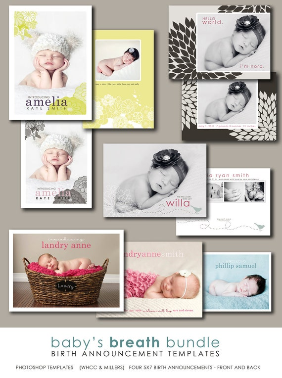 photographer templates photoshop birth announcement  - babys breath.