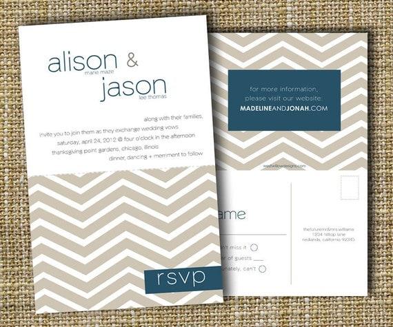 custom perforated wedding invitations with tear off rsvp postcard - chevron.